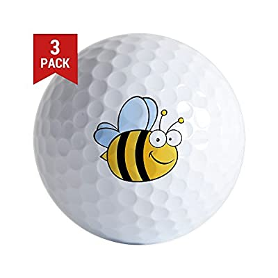 CafePress - Bee Happy - Golf Balls (3-Pack), Unique Printed Golf Balls