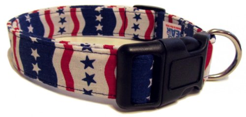 Adjustable Dog Collar in Patriotic Stars and Waves (Handmade in the U.S.A.)