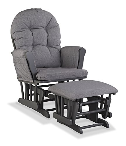 Storkcraft Custom Hoop Glider and Ottoman, Gray/Slate Gray Swirl
