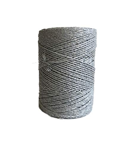 1mm Silver Sparkle Cotton Knotting Rope/Gray Single Strand Macrame Cord ()