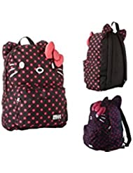 Hello Kitty Black and Pink Polka Dots Backpack with Ears and 3D Bow