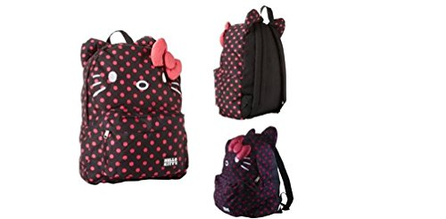 Hello Kitty Black and Pink Polka Dots Backpack with Ears and 3D - With Kitty Bow Pink Hello