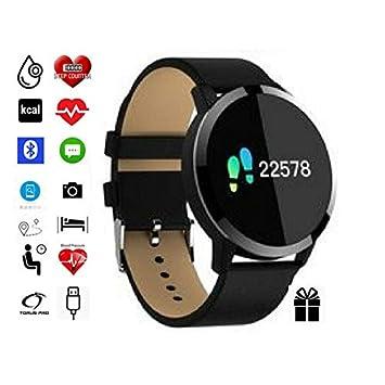 Torus Pro Q8 - Monitor de ritmo cardíaco negro, reloj deportivo y rastreador de actividad con control de oxígeno sanguíneo y podómetro y contador de ...