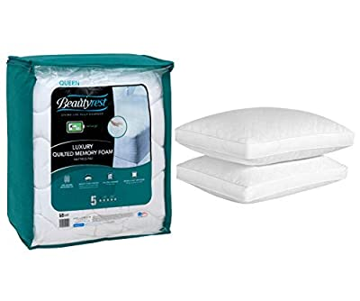 Beautyrest Quilted Memory Foam Mattress Pad in Queen Size Bundle with Beautyrest Luxury Quilted Down Alt Pillow Set of 2 in Queen Size