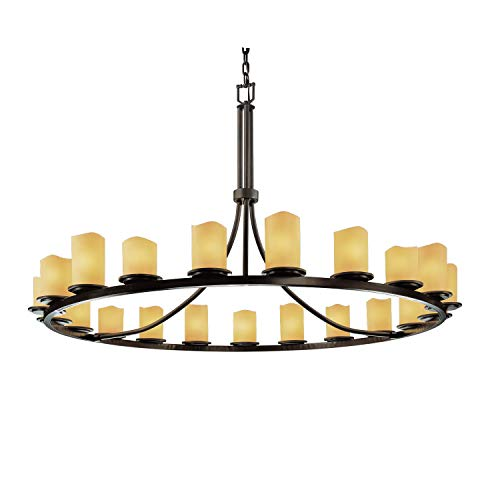 - Justice Design Group CandleAria 21-Light Chandelier - Dark Bronze Finish with Amber Faux Candle Resin Shade
