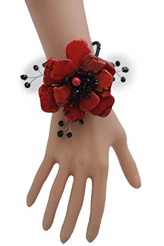 TFJ Women Fashion Jewelry Hand Elastic Metal Cuff Bracelet Big Flower Black Beads Red Color (Studded Wristband Single)