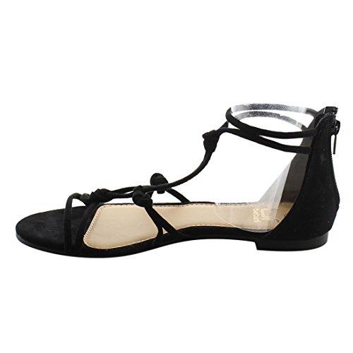 Sandali Con Cinturino Alla Caviglia Stile Gladiatore Tacco Piatto Donna Betani Fj05 Nero