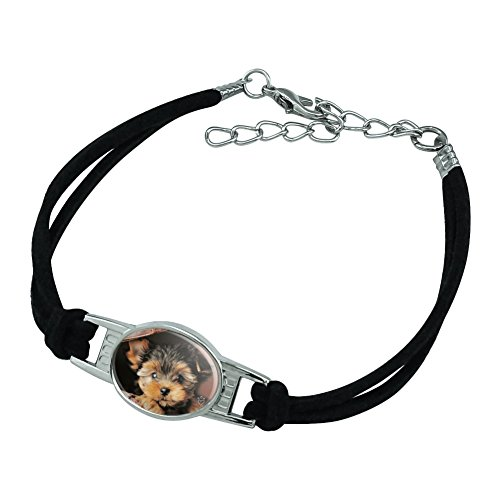 Graphics and More Yorkie Yorkshire Terrier Puppy Dog in Briefcase Trunk Suitcase Novelty Suede Leather Metal Bracelet - Black ()