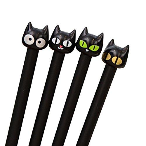 (4PC Cute Black Cat Gel Pen Kawaii Stationery Creative Gift School Supplies)