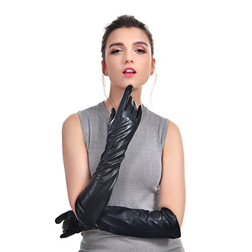 - VEMOLLA Womens Winter Long Evening Dressing Genuine Leather Gloves Fleece Lined