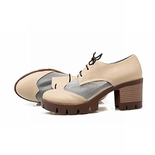 MissSaSa Damen modern und simpel Chunky heel Plateau runde Spitze Pumps mit Schnürsenkel mitte Absatz Blockabsatz Schnürhalbschuhe Aprikosen