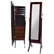 A68189 Wooden Floor Mirror Mahogany Color Jewellery Box