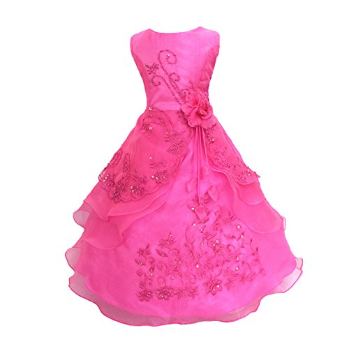 Embroidered Beaded Dress (Little/Big Girl Embroidered Beaded Flower Birthday Party Wedding Dress 3-16Years)