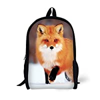 Backpack with Pencil Bag, Animal 3D Fox Pattern for Age 6-15 Kids boys girls