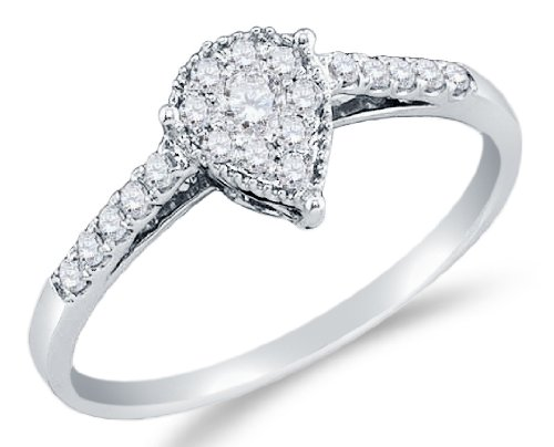 Pear Shape Center - Sonia Jewels Size 7-10K White Gold Prong Set Round Cut Diamond Engagement Ring OR Fashion Band - Pear Shape Center Setting - (1/4 cttw.)