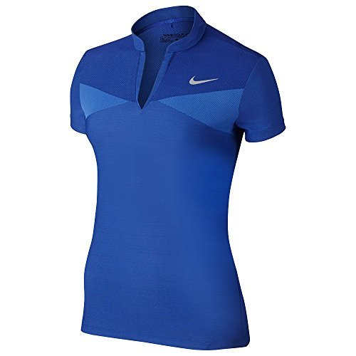 NIKE Zonal Cooling Swing Knit Golf Polo 2017 Women Deep Night/Medium Blue/Flat Silver Small