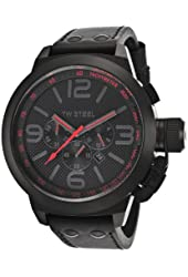 TW Steel Men's Canteen 50 mm Chronograph Black Strap and Dial Red Accents