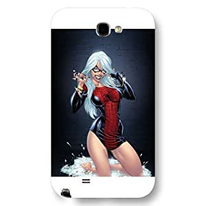 Customized Marvel Series For SamSung Note 2 Case Cover Marvel Comic Hero Spider Woman For SamSung Note 2 Case Cover Only Fit For SamSung Note 2 Case Cover (White Frosted )