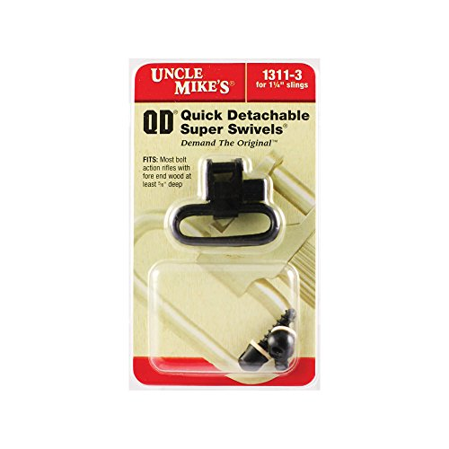 Uncle Mike's QD 115 RGS Bolt Action Wood Screw Type Sling Swivels (Blued, 1-1/4-Inch Loop)