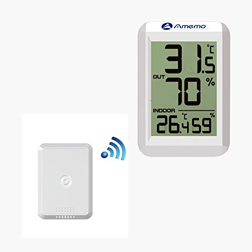 Price comparison product image Amemo Weather Station FT0423 Digital Hygrometer Thermometer LED Display Indoor Outdoor Temperature Meter Humidity Monitor.