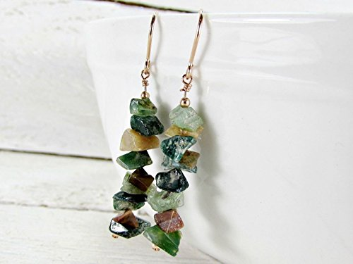 Natural Gold Nugget Ring (Green Indian Agate Stone Earrings- Sterling Silver, 14K Gold Filled or 14K Rose Gold Filled- Raw Gemstone Jewelry)