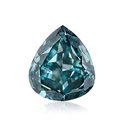 0.55 Carat Fancy Deep Blue Green Loose Diamond Natural Color Pear GIA Untreated