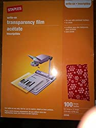 Staples 100 Pack Write-on Transparency Film