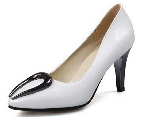 Pumps Materialien Damen Rein Stiletto Spitz Ziehen Blend auf AllhqFashion Weiß Schuhe Zehe zqUwRxR