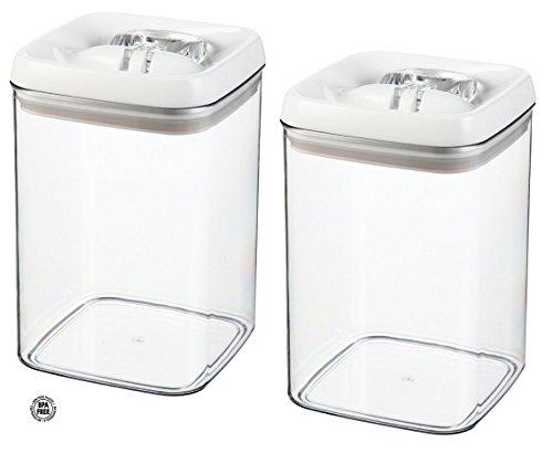 (2 Pack) Felli Flip Tite Acrylic Food Storage Rectangular Canister, 115 oz.,Clear