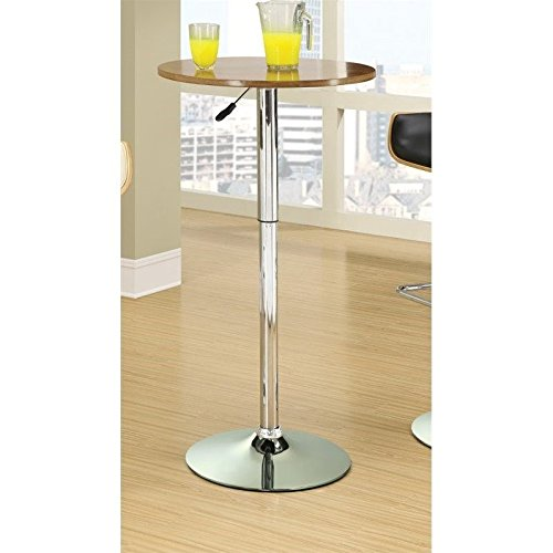 Coaster 130501 Home Furnishings Adjustable Bar Table, Walnut/Chrome (Round Traditional Bar Table)