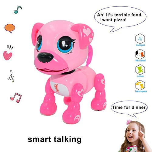 amdohai Interactive Puppy - Smart Pet, Electronic Robot Dog Toys for Age 3 4 5 6 7 8 Year Old Girls, Gifts Idea for Kids ? Voice Control?Intelligent Talking (Pink)