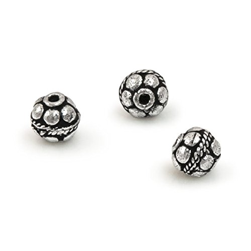 Bali Style Round Flower Bead 6mm Sterling Silver