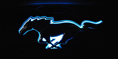 LED Light Up Blue Pony Emblem Front Radiator Grille Grill Compatible with 2010-2014 Ford Mustang