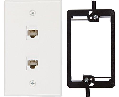 Cat5 Wall Outlet (Buyer's Point 2 Port Cat6 Wall Plate, Female-Female White with Single Gang Low Voltage Mounting Bracket Device (2 Port))