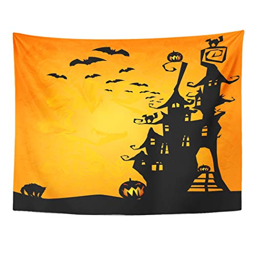 Tarolo Decor Wall Tapestry House Halloween Spooky Castle Cats and Pumpkins Cute Haunted Witch Black 60 x 50 Inches Wall Hanging Picnic for Bedroom Living Room Dorm -