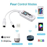 Zombber WiFi Wireless Smart LED Controller with 24 keys Remote for RGB LED Strip Lights, Compatible with Alexa Google Home IFTTT, Support Android IOS System
