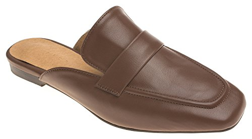 AnnaKastle Womens Penny Strap Backless Slip On Loafer Flat Mule No Fur Brown + Plain Strap mwfImeX6