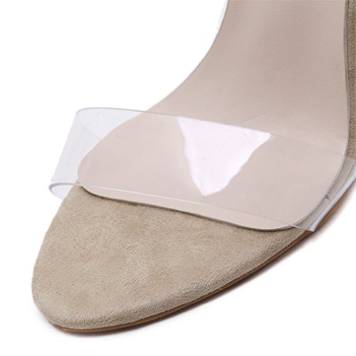 al Sandalia de de hebilla alto Mujer sandalias tobillo transparente tacón bomba de boda Verano bloque apricot PVC de Cristalina la zapatos 5qWfEUqB