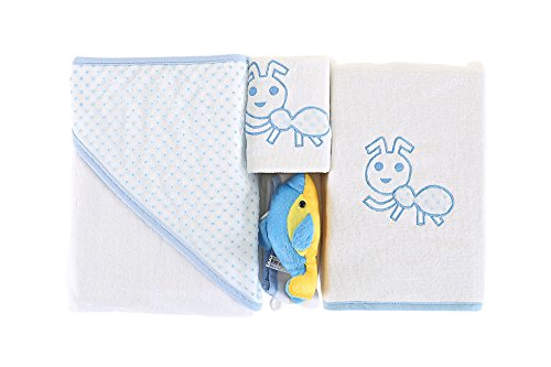 Collection Home Piece 4 Spa (4 Pcs Baby Towel Set Premium Quality Made in Turkey 100% Cotton with Bib and Scrub Mitt / White Blue Turquoise Ant For Kids Soft Accessory / SuperSoft Machine Washable Quick Dry Highly Absorbent)