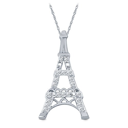 La Joya 10K White Gold 1/10 ct Natural Round Diamond Accent Eiffel Tower Pendant Necklace for Teens Womens