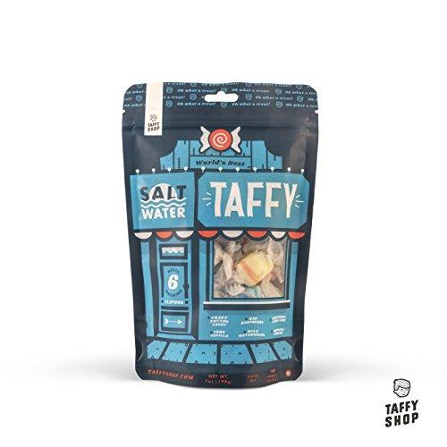 Taffy Shop World's Best Salt Water Taffy Mix--6 Gourmet Flavors: Birthday Cake Cake, Very Vanilla, Wild Watermelon, Banana Dream, Crazy Cotton Candy, Rad Raspberry (1 Bag)