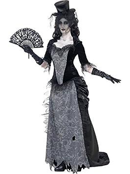 Smiffys-24575L Disfraz de Viuda Negra de Ghost Town, con Parte de Arriba, Falda y sombrer, Color Gris, L-EU Tamaño 44-46 (SmiffyS 24575L)