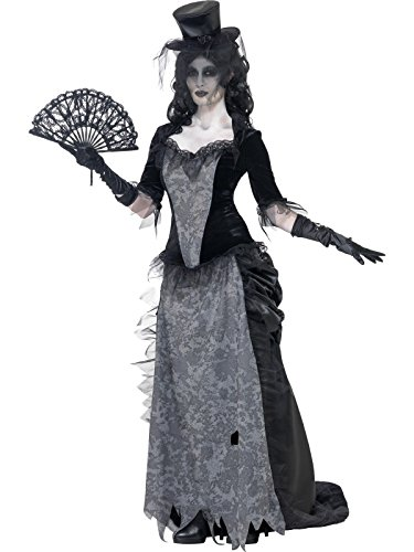Halloween Costumes Widow (Smiffy's Women's Ghost Town Black Widow Costume, Top, Skirt and Hat, Ghost Town, Halloween, Size 14-16,)