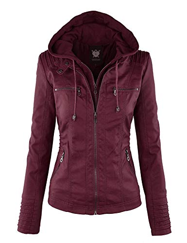- Lock and Love LL WJC663 Womens Removable Hoodie Motorcyle Jacket XS Wine