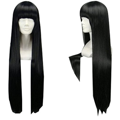TopWigy Girl's Replacement Wig Natural Black Long Straight Costume Daily Hair Wigs with Bangs(Black -