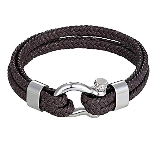 TTHER Nautical Rope Stainless Steel Shackle Buckle Leather Survival Bracelets Bangle Men Surf Nautical Sailor Surfer Wristband Jewelry by TTHER
