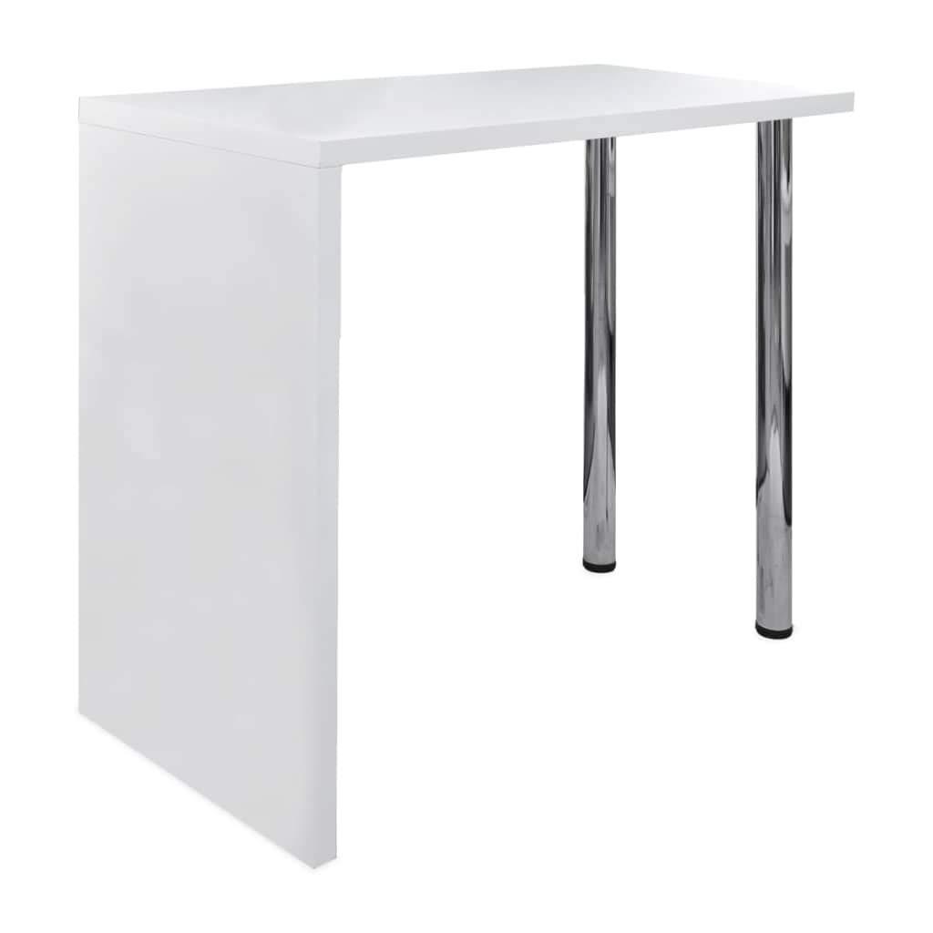 vidaXL Tavolo da Bar in MDF con 2 Gambe Acciaio Bianco Lucido Tavolino Cucina