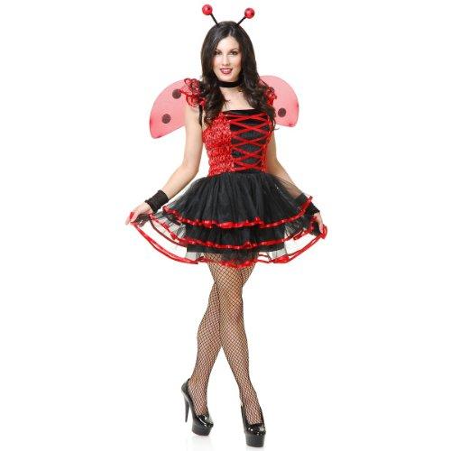 Charades Women's Lady Bug Cutie Costume, Black/red, Medium