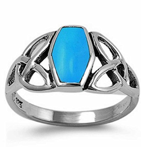 Celtic Square Simulated TURQUOISE Navajo Arizona Spirit Inspired - Sterling Silver Ring size 6-10 (9)