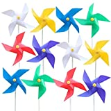 Coxeer Pinwheel,12PCS Kid's Pinwheel Fashionable Flower Solid Color Plastic Pinwheel Decor Wind Spinner for Birthday Garden Ornaments, Party Supplies Decor